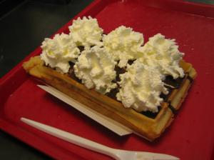 Belgian waffles I enjoyed . . . while my roommate was getting mugged.