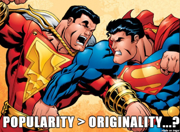 "Despite being based off of Superman, Captain Marvel comics outsold Superman comics for most of the Golden Age of comics before a copyright lawsuit pushed the owner to stop production (the suit is widely considered to be groundless today). Ironically, DC Comics later bought the rights to the character and now he exists alongside Superman in the DC comic book universe (though he's referred to as Shazam because Marvel snatched up the trademark rights to ""Captain Marvel"")."