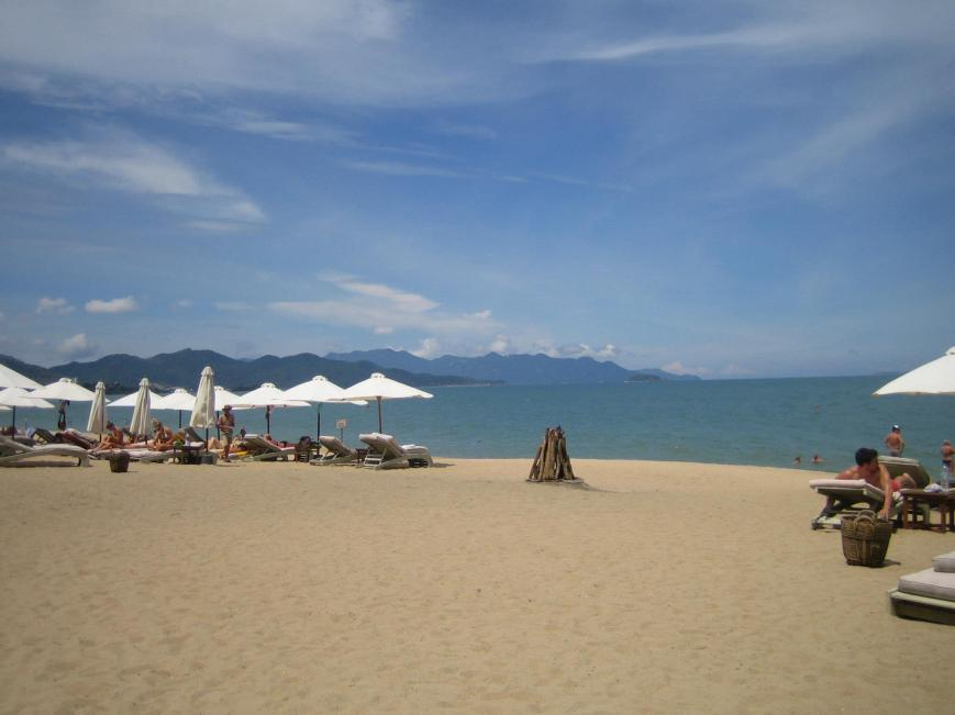 Nha Trang beach; you pay to use a lounger for the day.